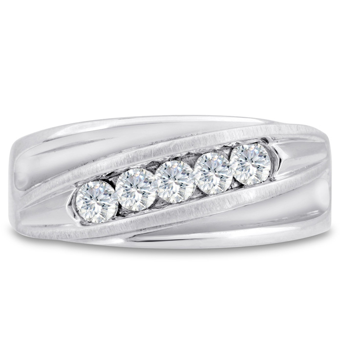 Mens 3/5 Carat Diamond Wedding Band in 14K White Gold, G-H, I2-I3