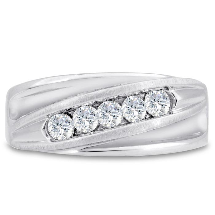 Mens 3/5 Carat Diamond Wedding Band in 14K White Gold, I-J-K, I1-