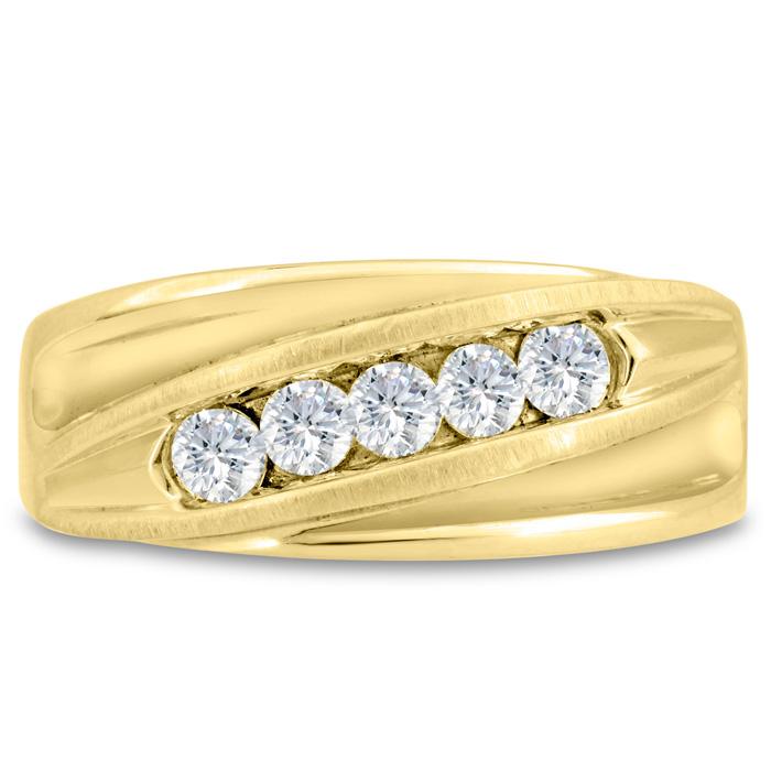 Mens 3/5 Carat Diamond Wedding Band in 14K Yellow Gold, I-J-K, I1