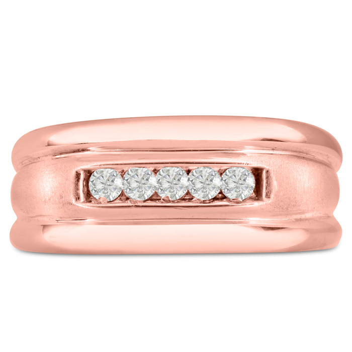 Mens 1/4 Carat Diamond Wedding Band in 14K Rose Gold, G-H, I2-I3, 9.68mm Wide by SuperJeweler