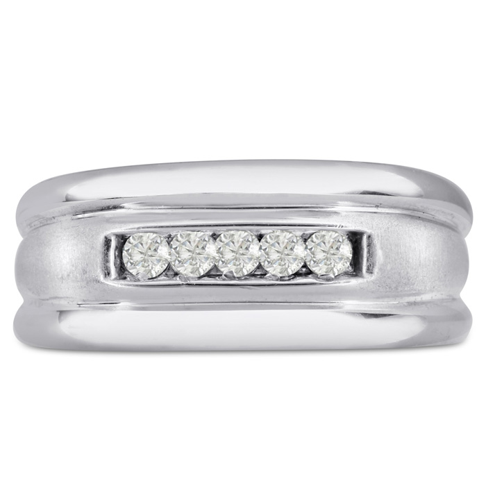 Mens 1/4 Carat Diamond Wedding Band in 14K White Gold, G-H, I2-I3, 9.68mm Wide by SuperJeweler
