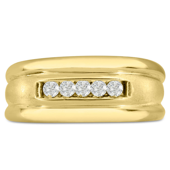 Mens 1/4 Carat Diamond Wedding Band in 14K Yellow Gold, I-J-K, I1-I2, 9.68mm Wide by SuperJeweler