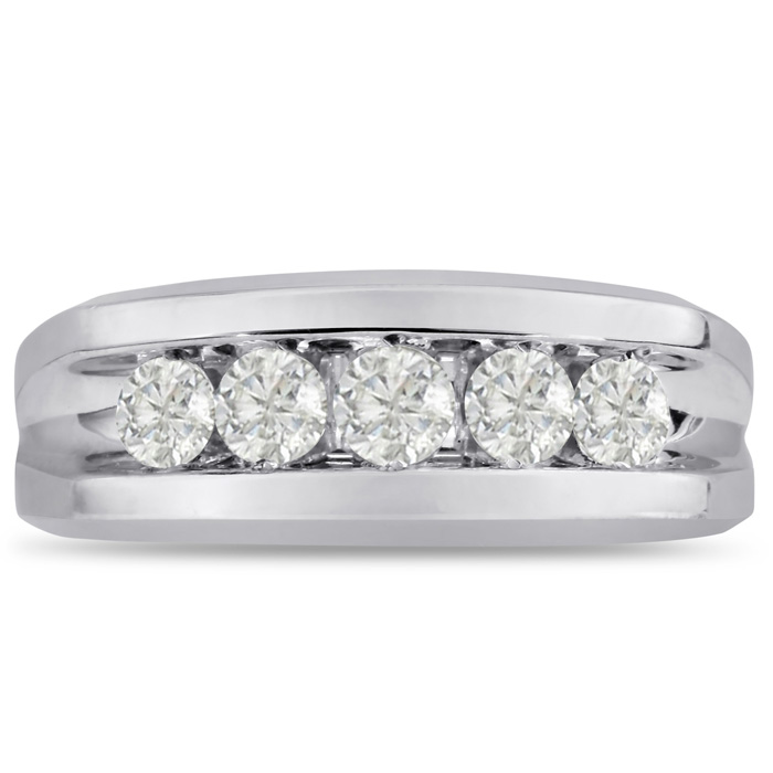 Mens 1 Carat Diamond Wedding Band in 10K White Gold, I-J-K, I1-I2, 8.85mm Wide by SuperJeweler