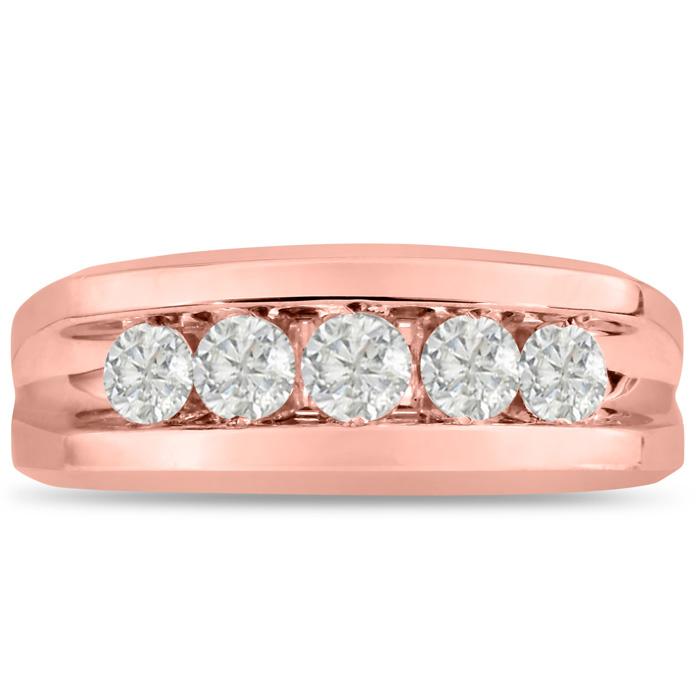 Mens 1 Carat Diamond Wedding Band in 14K Rose Gold, G-H, I2-I3, 8