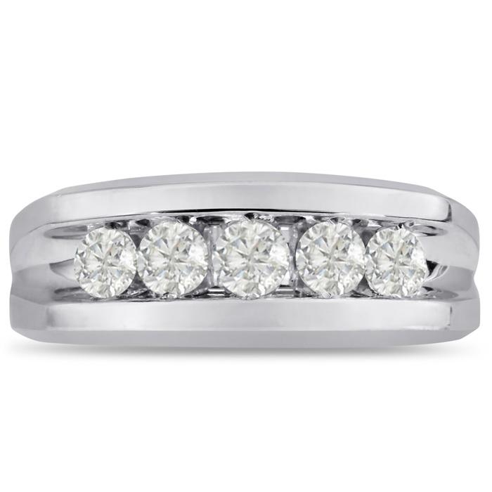 Mens 1 Carat Diamond Wedding Band in 14K White Gold, G-H, I2-I3, 8.85mm Wide by SuperJeweler