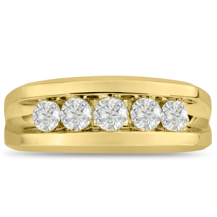 Mens 1 Carat Diamond Wedding Band in 14K Yellow Gold, I-J-K, I1-I