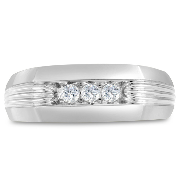 Mens 1/4 Carat Diamond Wedding Band in 10K White Gold, G-H, I2-I3