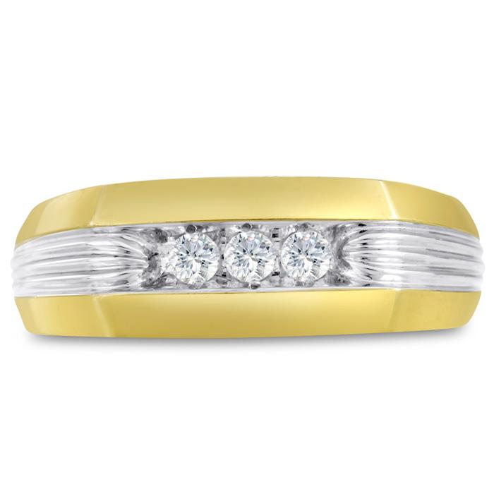 Mens 1/4 Carat Diamond Wedding Band in 10K Two-Tone Gold, I-J-K,