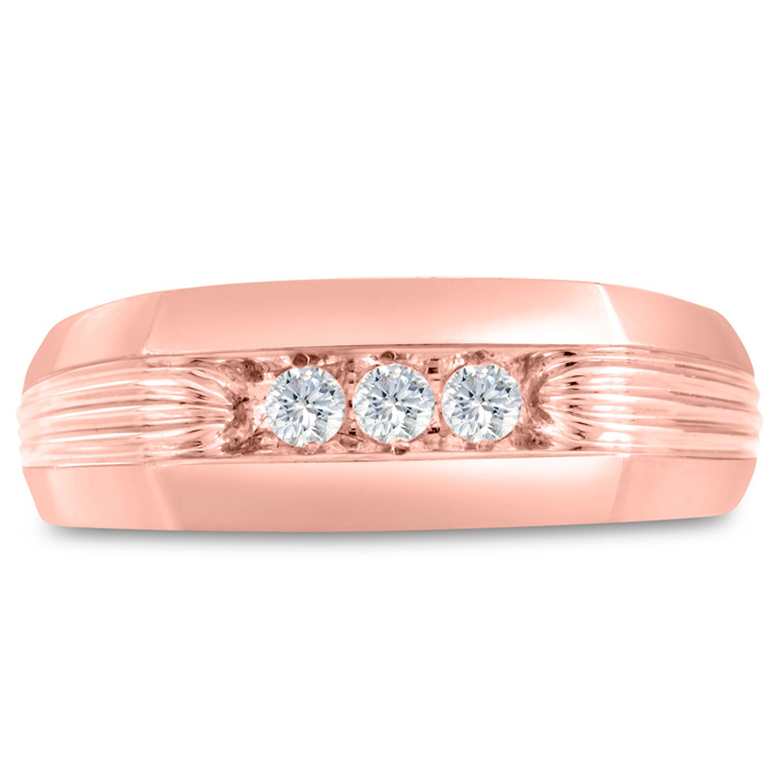 Mens 1/4 Carat Diamond Wedding Band in 14K Rose Gold, I-J-K, I1-I2, 7.88mm Wide by SuperJeweler