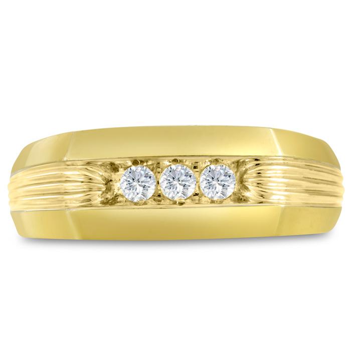 Mens 1/4 Carat Diamond Wedding Band in 14K Yellow Gold, I-J-K, I1-I2, 7.88mm Wide by SuperJeweler