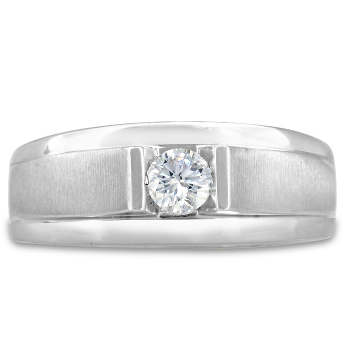 Mens 1/3 Carat Diamond Wedding Band in 10K White Gold, I-J-K, I1-I2, 8.78mm Wide by SuperJeweler