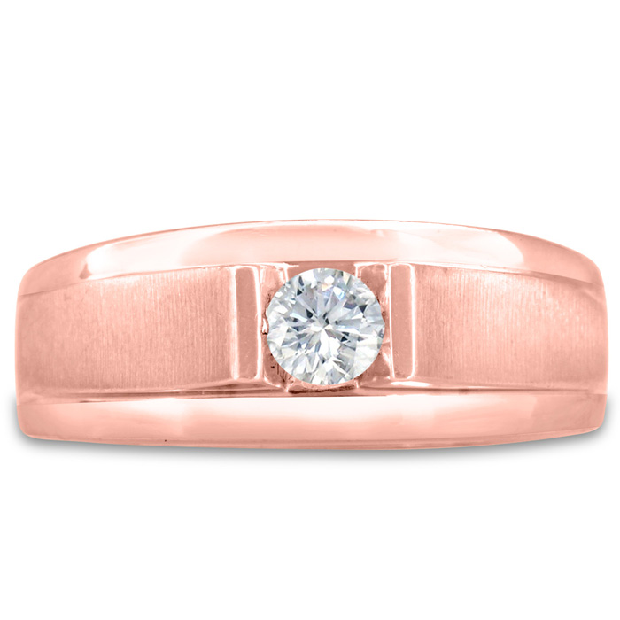 Mens 1/3 Carat Diamond Wedding Band in 14K Rose Gold, G-H, I2-I3,