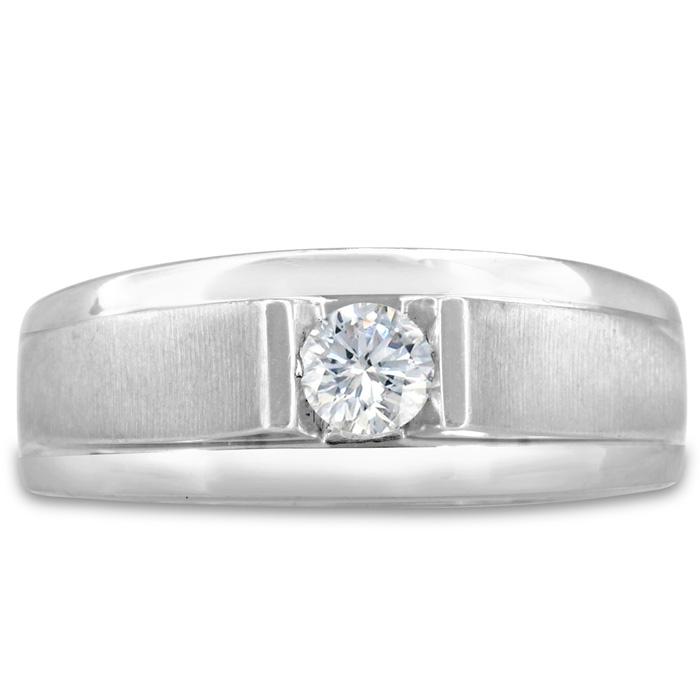 Mens 1/3 Carat Diamond Wedding Band in 14K White Gold, G-H, I2-I3, 8.78mm Wide by SuperJeweler
