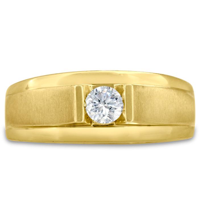 Mens 1/3 Carat Diamond Wedding Band in 14K Yellow Gold, I-J-K, I1-I2, 8.78mm Wide by SuperJeweler