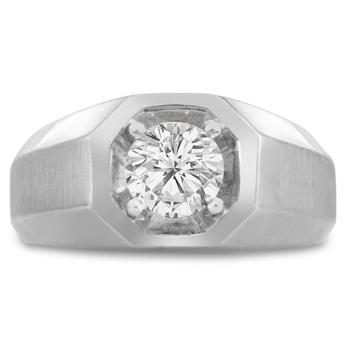 Mens 1 Carat Diamond Wedding Band in 10K White Gold, I-J-K, I1-I2, 10.47mm Wide by SuperJeweler