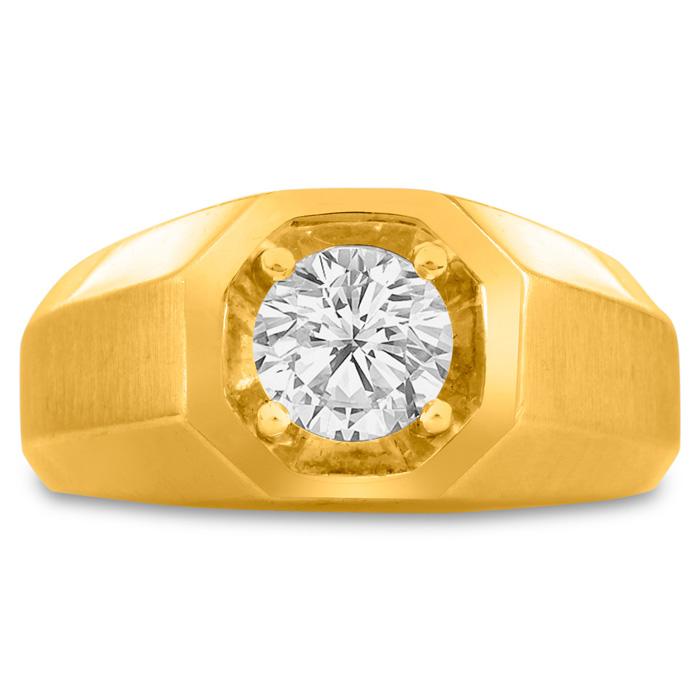 Mens 1 Carat Diamond Wedding Band in 10K Yellow Gold, I-J-K, I1-I2, 10.47mm Wide by SuperJeweler