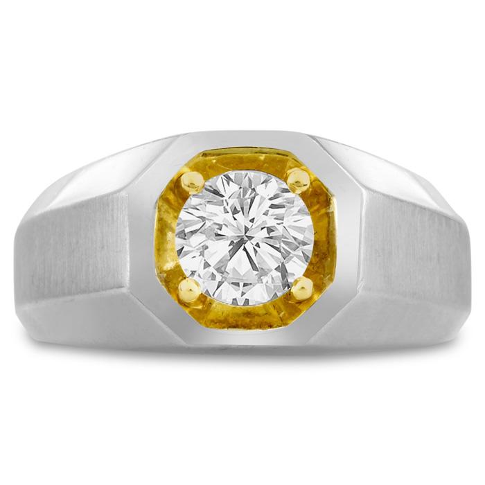 Mens 1 Carat Diamond Wedding Band in 14K Two-Tone Gold, I-J-K, I1