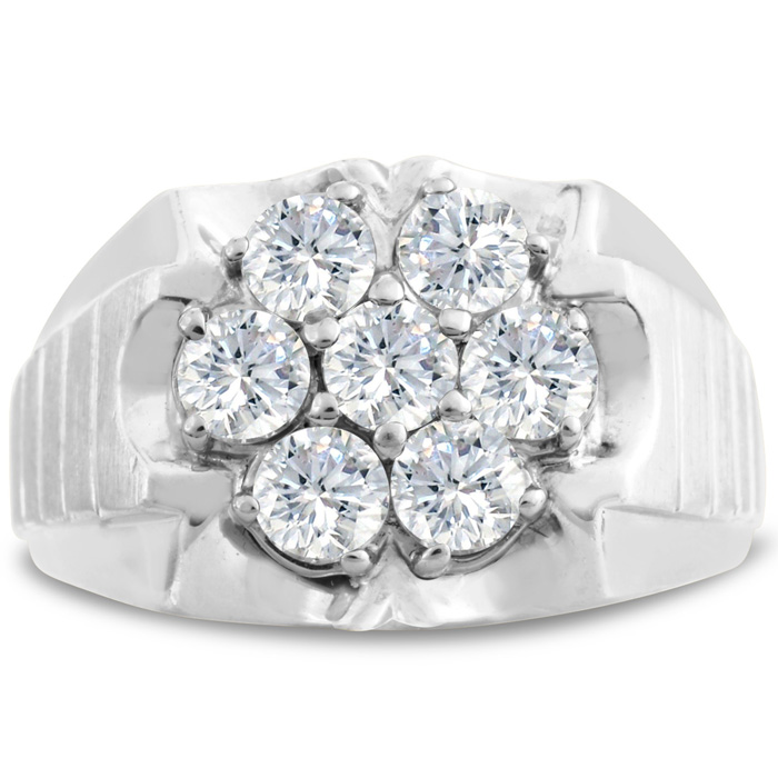 Mens 1 3/4 Carat Diamond Wedding Band in 10K White Gold, I-J-K, I1-I2, 15.28mm Wide by SuperJeweler