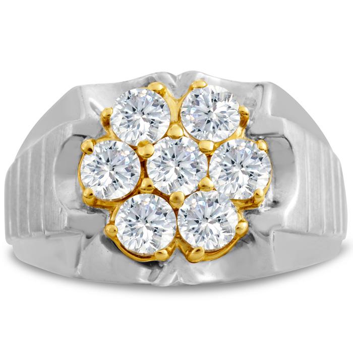 Mens 1 3/4 Carat Diamond Wedding Band in 14K Two-Tone Gold, I-J-K