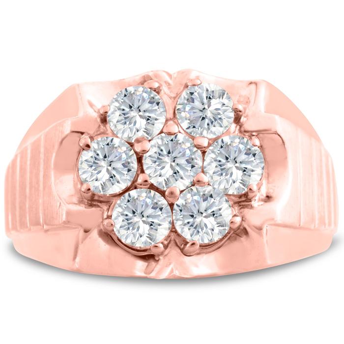 Mens 1 3/4 Carat Diamond Wedding Band in 14K Rose Gold, I-J-K, I1