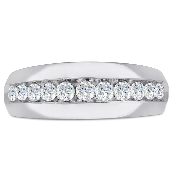 Mens 1 Carat Diamond Wedding Band in 10K White Gold, I-J-K, I1-I2