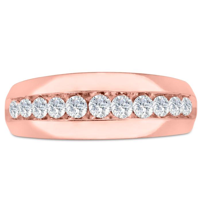 Mens 1 Carat Diamond Wedding Band in 14K Rose Gold, G-H, I2-I3, 8.40mm Wide by SuperJeweler