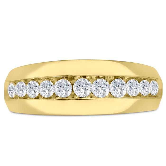Mens 1 Carat Diamond Wedding Band in 14K Yellow Gold, I-J-K, I1-I2, 8.40mm Wide by SuperJeweler