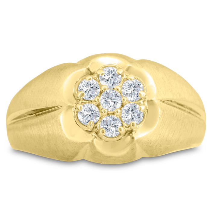 Mens 1/2 Carat Diamond Wedding Band in 10K Yellow Gold, G-H, I2-I3, 12.79mm Wide by SuperJeweler