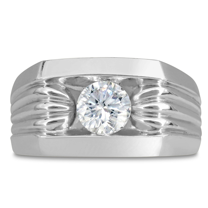 Mens 1 Carat Diamond Wedding Band in 10K White Gold, G-H, I2-I3, 11.81mm Wide by SuperJeweler