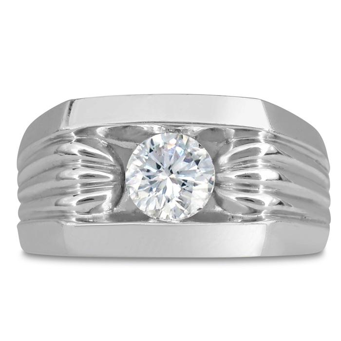 Mens 1 Carat Diamond Wedding Band in 10K White Gold, I-J-K, I1-I2, 11.81mm Wide by SuperJeweler