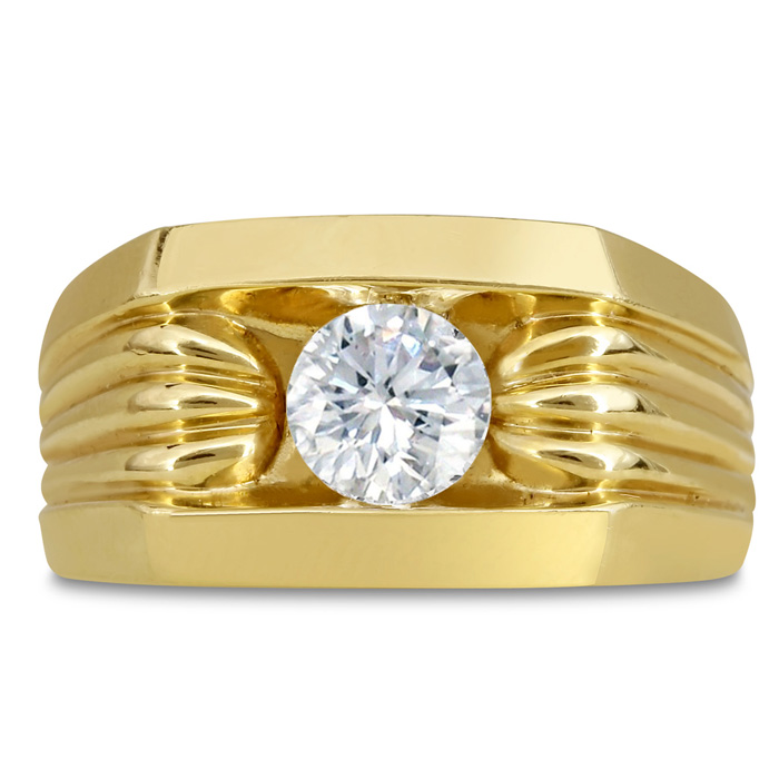 Mens 1 Carat Diamond Wedding Band in 10K Yellow Gold, G-H, I2-I3, 11.81mm Wide by SuperJeweler