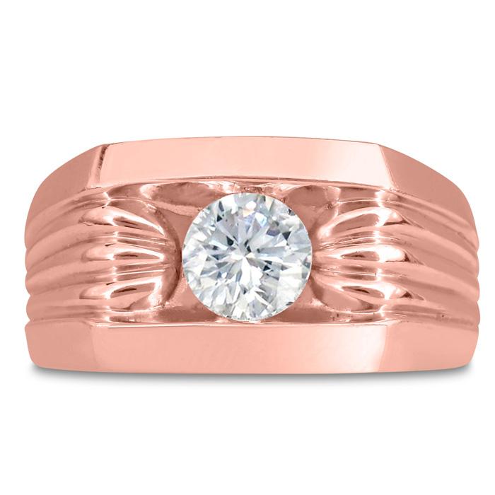 Mens 1 Carat Diamond Wedding Band in 14K Rose Gold, I-J-K, I1-I2, 11.81mm Wide by SuperJeweler