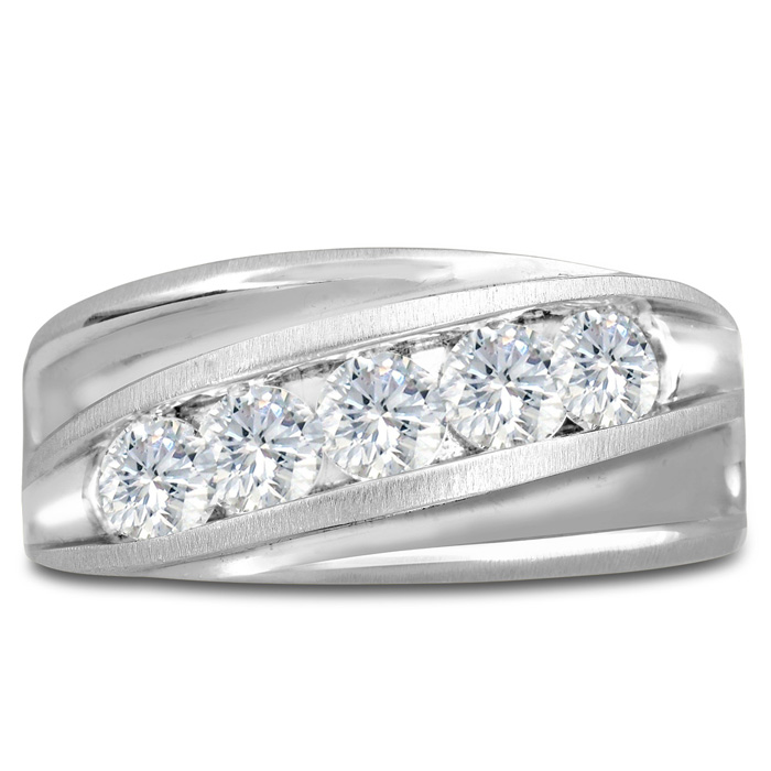 Mens 1 Carat Diamond Wedding Band in 10K White Gold, G-H, I2-I3, 10.94mm Wide by SuperJeweler