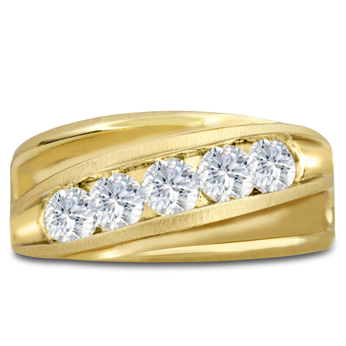 Mens 1 Carat Diamond Wedding Band in 10K Yellow Gold, I-J-K, I1-I2, 10.94mm Wide by SuperJeweler