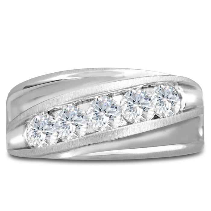 Mens 1 Carat Diamond Wedding Band in 14K White Gold, I-J-K, I1-I2, 10.94mm Wide by SuperJeweler