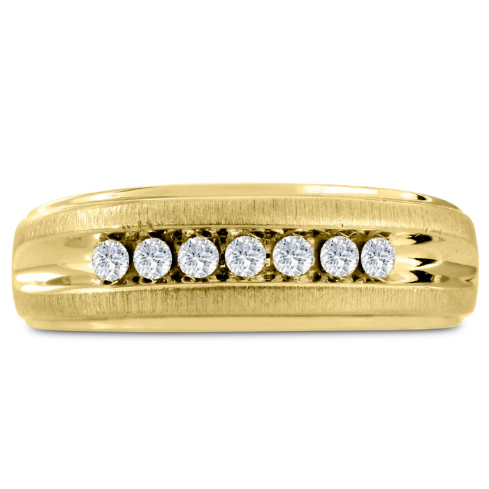 Mens 1/4 Carat Diamond Wedding Band in 10K Yellow Gold, G-H, I2-I3, 7.60mm Wide by SuperJeweler