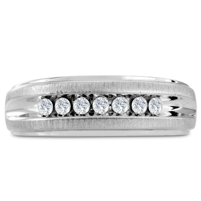 Mens 1/4 Carat Diamond Wedding Band in 14K White Gold, G-H, I2-I3, 7.60mm Wide by SuperJeweler