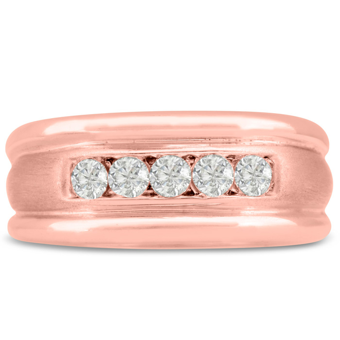 Mens 1/2 Carat Diamond Wedding Band in 10K Rose Gold, I-J-K, I1-I2, 9.51mm Wide by SuperJeweler