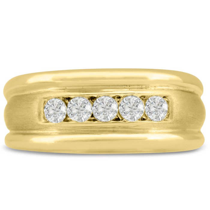 Mens 1/2 Carat Diamond Wedding Band in 10K Yellow Gold, I-J-K, I1-I2, 9.51mm Wide by SuperJeweler