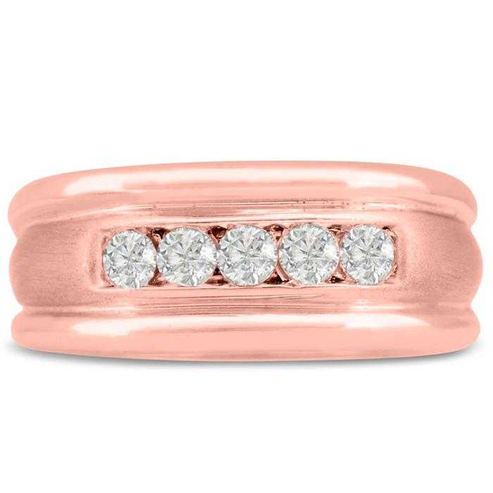 Mens 1/2 Carat Diamond Wedding Band in 14K Rose Gold, G-H, I2-I3, 9.51mm Wide by SuperJeweler