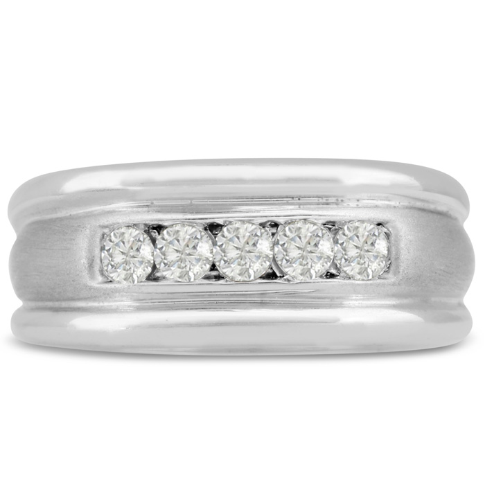 Mens 1/2 Carat Diamond Wedding Band in 14K White Gold, I-J-K, I1-