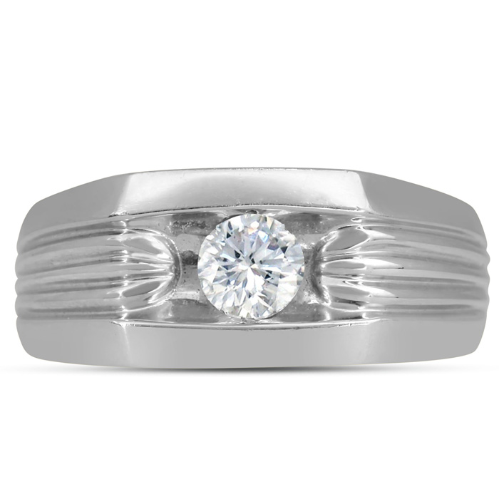 Mens 1/2 Carat Diamond Wedding Band in 10K White Gold, I-J-K, I1-I2, 9.57mm Wide by SuperJeweler