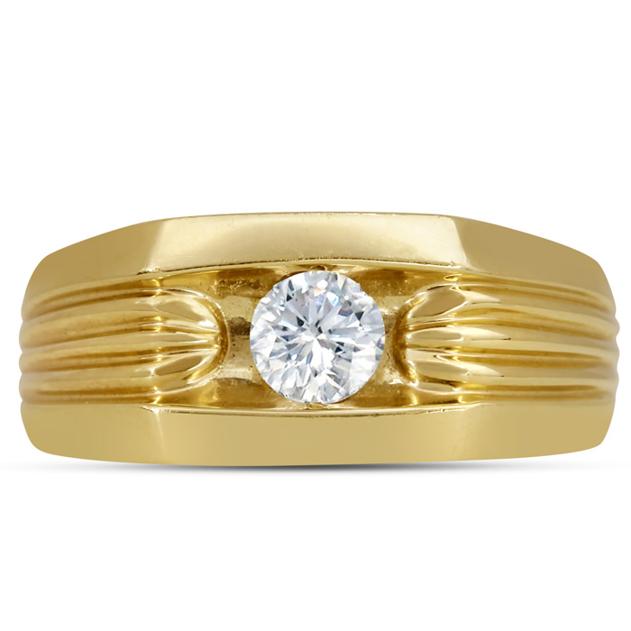 Mens 1/2 Carat Diamond Wedding Band in 10K Yellow Gold, G-H, I2-I3, 9.57mm Wide by SuperJeweler