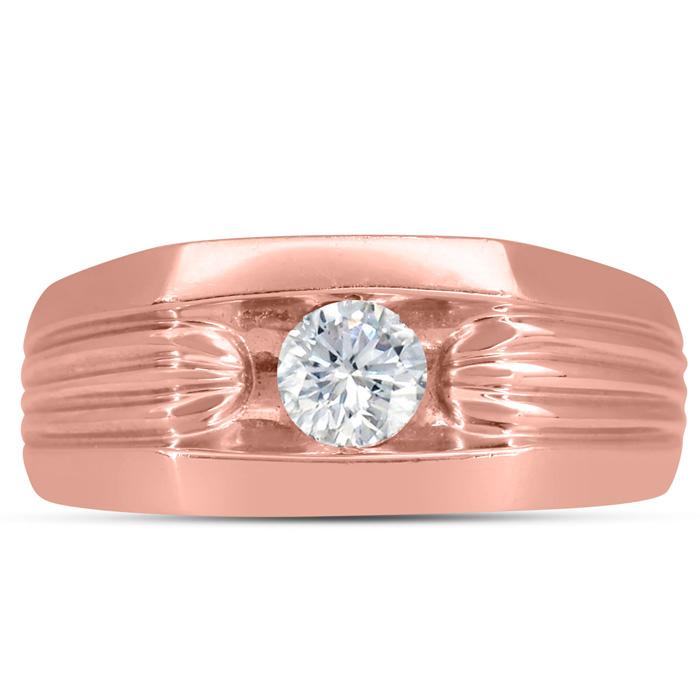Mens 1/2 Carat Diamond Wedding Band in 14K Rose Gold, G-H, I2-I3, 9.57mm Wide by SuperJeweler