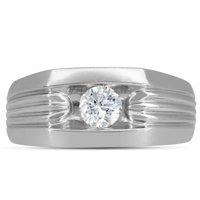 Mens 1/2 Carat Diamond Wedding Band in 14K White Gold, I-J-K, I1-I2, 9.57mm Wide by SuperJeweler