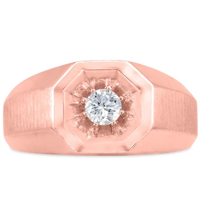 Mens 1/4 Carat Diamond Wedding Band in 10K Rose Gold, I-J-K, I1-I