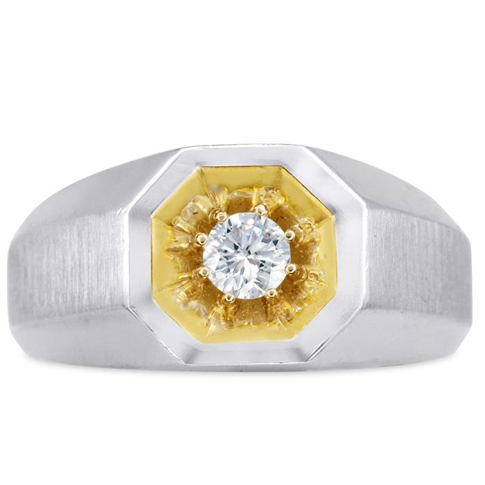 Mens 1/4 Carat Diamond Wedding Band in 10K Two-Tone Gold, I-J-K, I1-I2, 10.43mm Wide by SuperJeweler