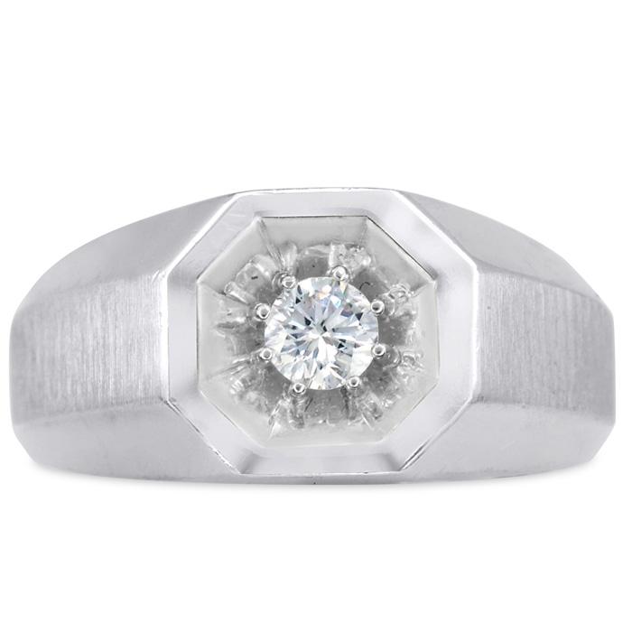 Mens 1/4 Carat Diamond Wedding Band in 14K White Gold, G-H, I2-I3, 10.43mm Wide by SuperJeweler