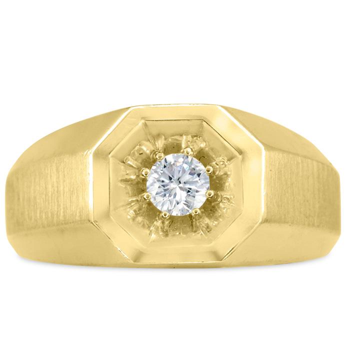 Mens 1/4 Carat Diamond Wedding Band in 14K Yellow Gold, I-J-K, I1-I2, 10.43mm Wide by SuperJeweler