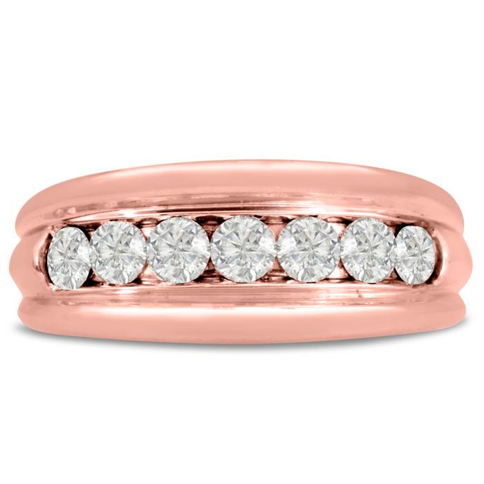 Mens 1 Carat Diamond Wedding Band in 10K Rose Gold, G-H, I2-I3, 8